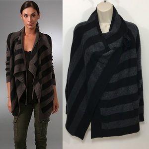 Vince striped Drape Cardigan Sweater wool cashmere